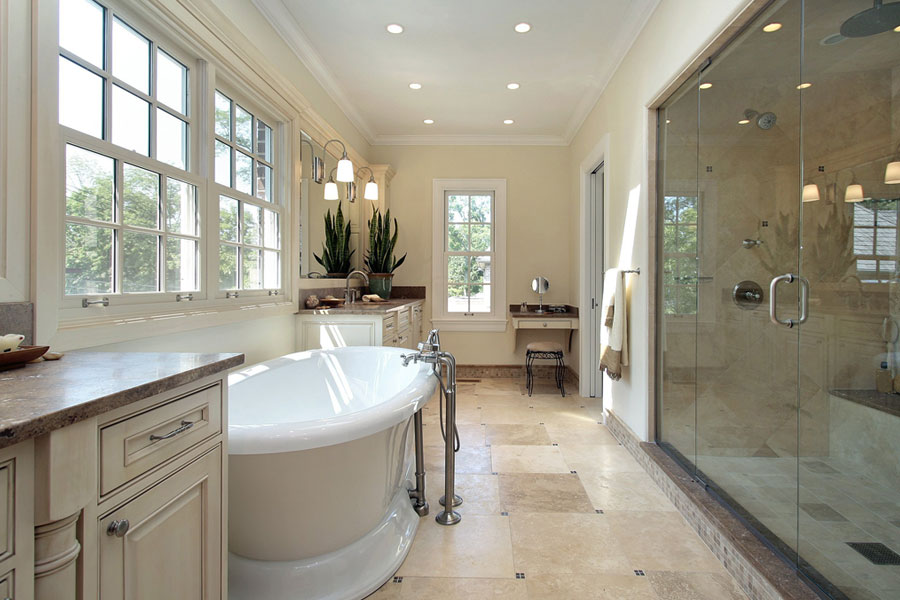 Merveilleux Bathroom Clawfoot Tub Shower Glass Door Tile Floor Remodel Raleigh Nc
